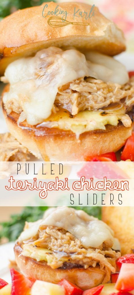Pulled Teriyaki Chicken Sliders are full of the sweet and tangy flavors from the made from scratch teriyaki sauce; paired with grilled pineapple, melty cheese and a toasted bun this fun meal is a guaranteed winner.