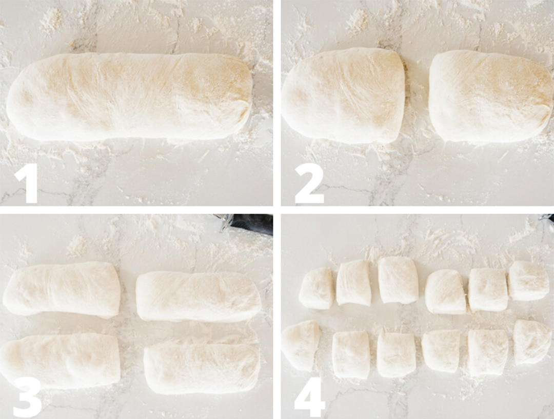 how to cut the loaf of ciabatta dough into rolls