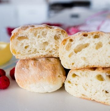 ciabatta rolls, cut in half.