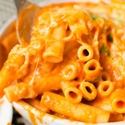 Dump and Start Instant Pot Creamy Ziti is saucy, cheesy and delicious. 20 minutes is all you need to make this creamy red sauce and pasta dish!