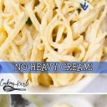 Instant Pot Skinny Alfredo is just as tasty as my famous Dump & Start recipe only without the heavy cream! Substituting evaporated milk for the heavy cream cuts the calorie and fat content by more than half making this a guilt-free meal!