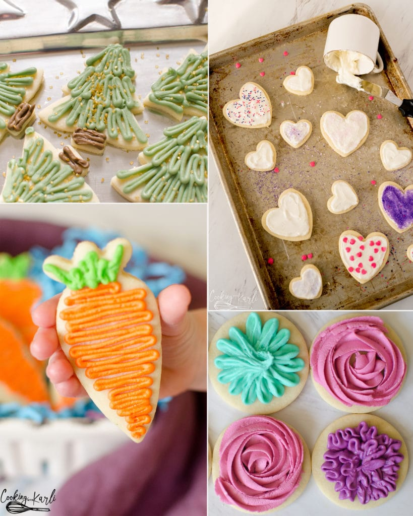 sugar cookies decorated for particular holidays like Christmas, valentines day and easter