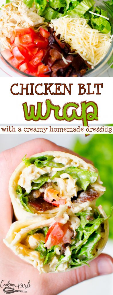 BLT Chicken Wraps are loaded with crispy lettuce, bacon, chicken, tomatoes, cheese and a homemade creamy dressing wrapped inside a flour tortilla. Simple, easy and DELICIOUS! |Cooking with Karli| #chickenwrap #wrap #BLT #lunch #healthy #bacon #easy #fast
