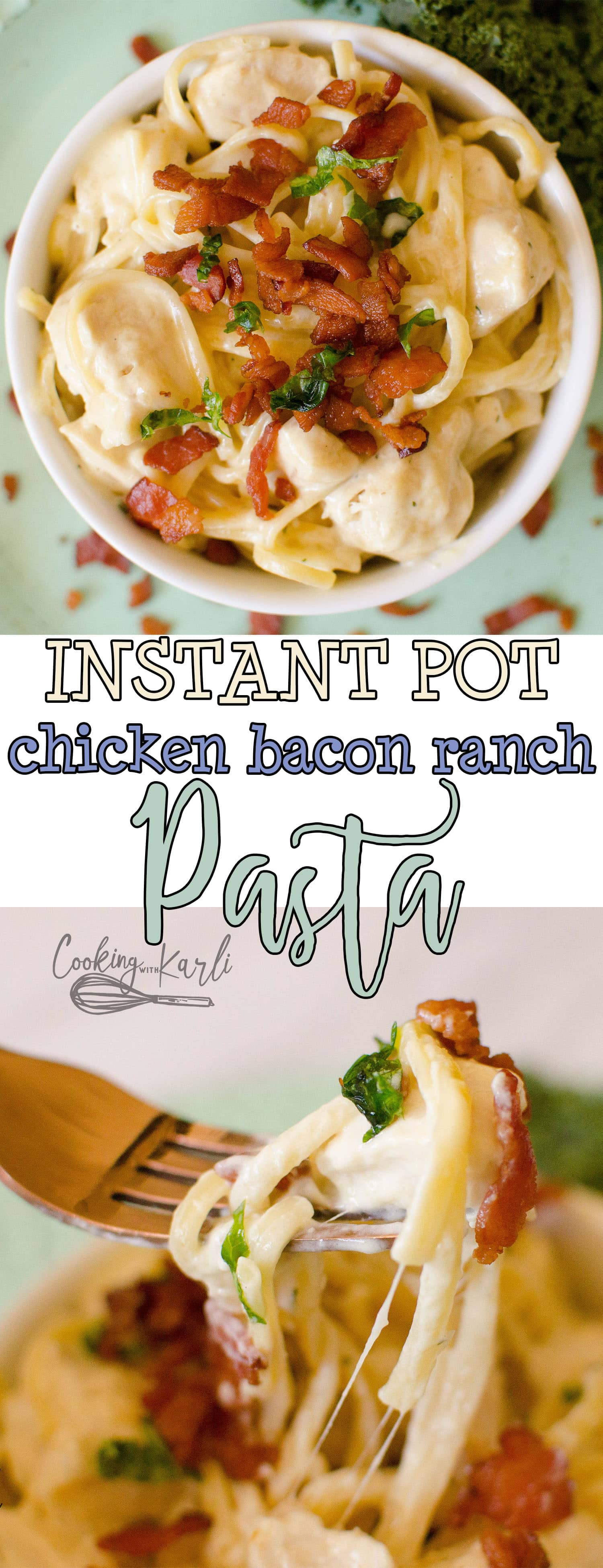 Instant Pot Chicken Bacon Ranch Pasta is creamy, cheesy and full of the classic chicken bacon ranch flavor! Making this in the Instant Pot couldn't be easier, this is a Dump and Start pasta dish that will be ready to eat in 20 minutes flat! |Cooking with Karli| #pasta #instantpot #recipe #dumpandstart #chicken #bacon #ranch