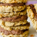 Peanut Butter Oatmeal cookies with chocolate frosting sandwiched in between make a great on the go treat.