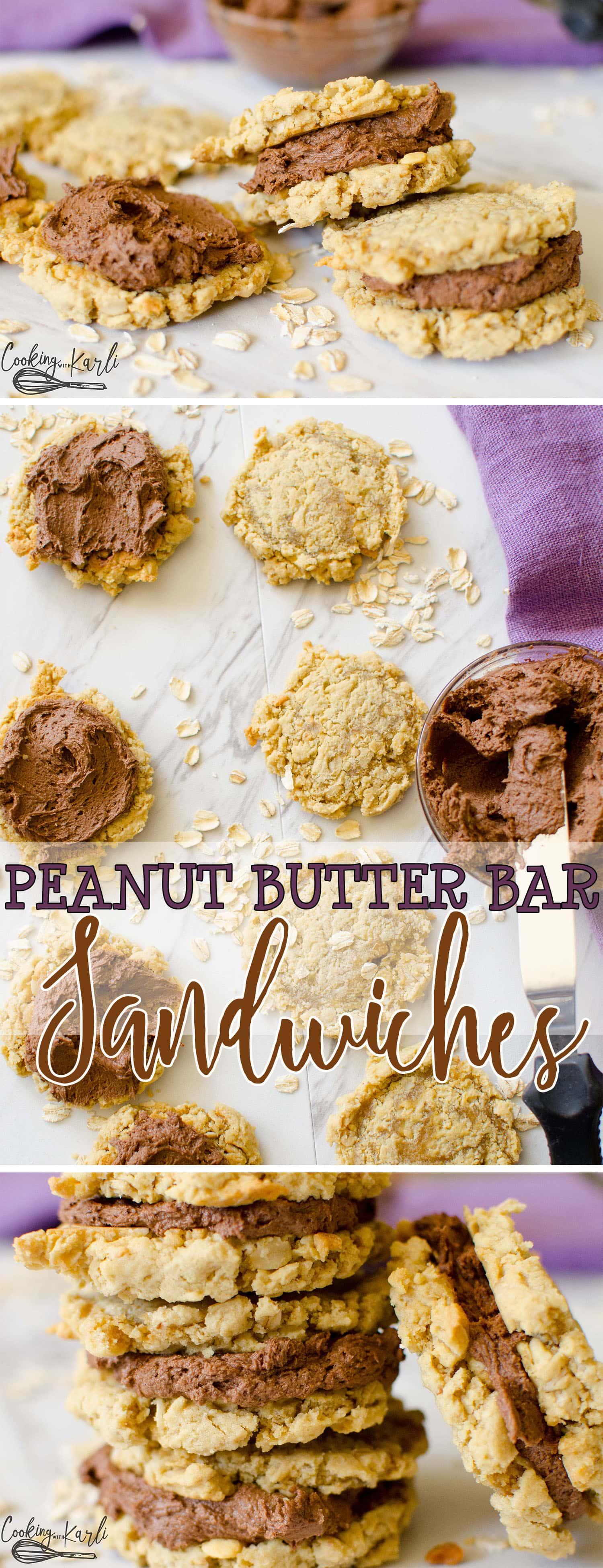 Peanut Butter Chocolate Sandwich Cookies are rich chocolate buttercream sandwiched between two chewy peanut butter oatmeal cookies. These are just like a good old fashioned peanut butter bar, just in sandwich form! |Cooking with Karli| #peanutbutterbars #lunchlady #peanutbutter #chocolate #buttercream #recipe #dessert #sandwich #cookie