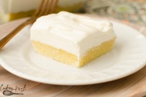 Vanilla lush cake is a served cold layered dessert.
