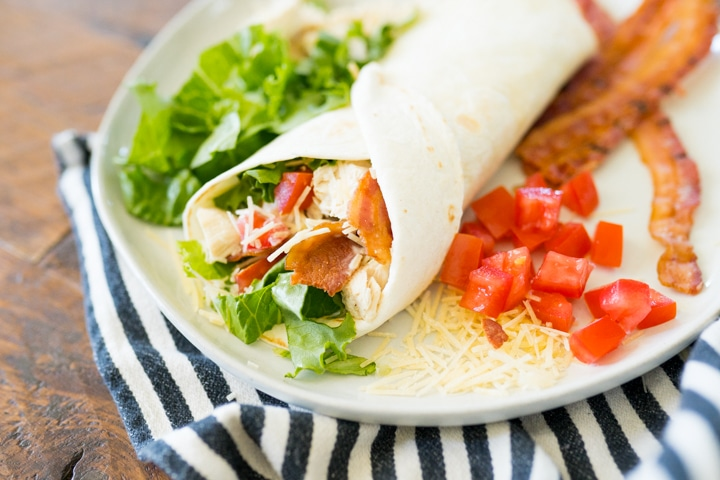 chicken wrap with bacon lettuce and tomato