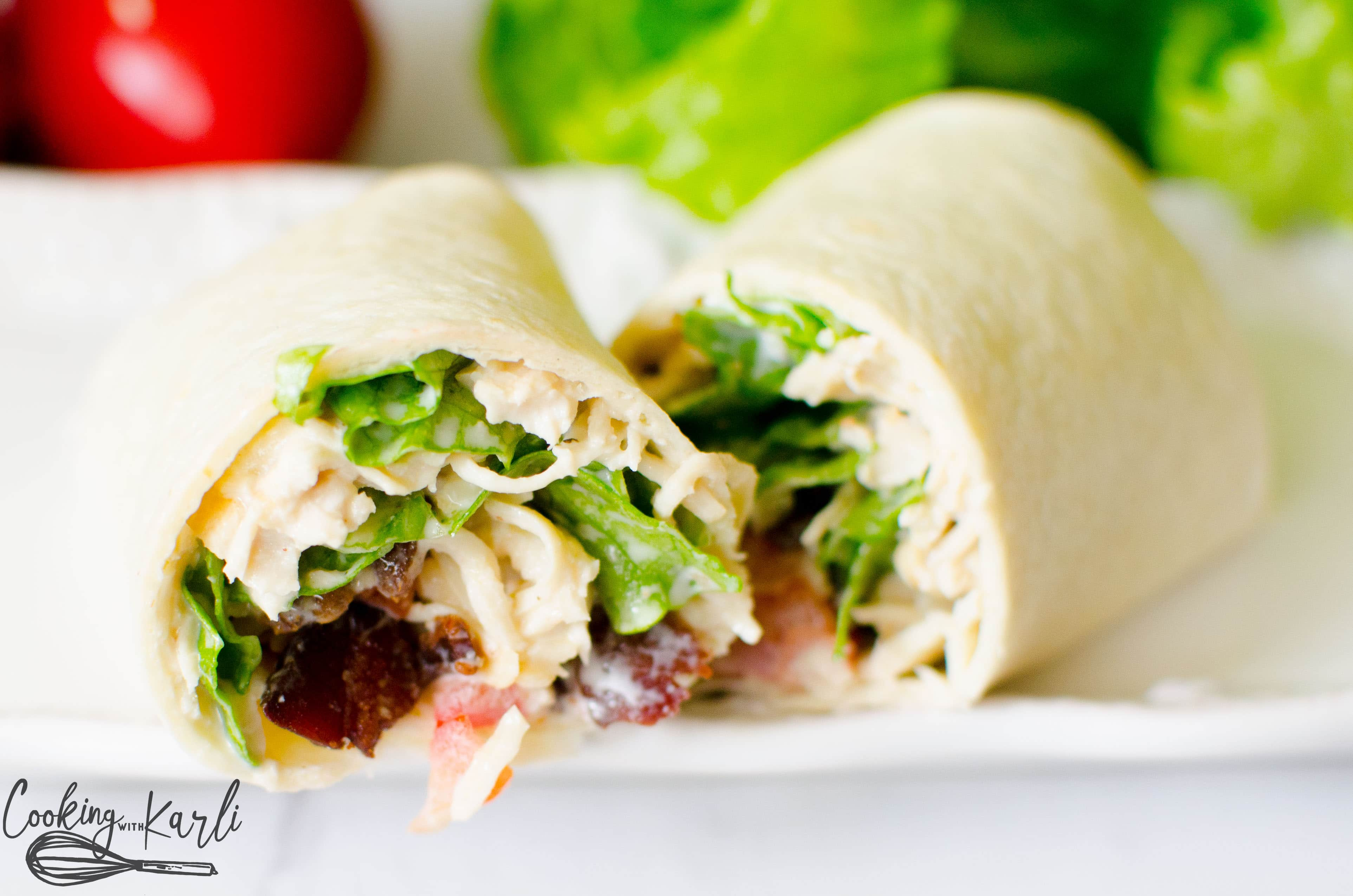 BLT chicken tortilla wrap with a homemade creamy dressing for lunch.