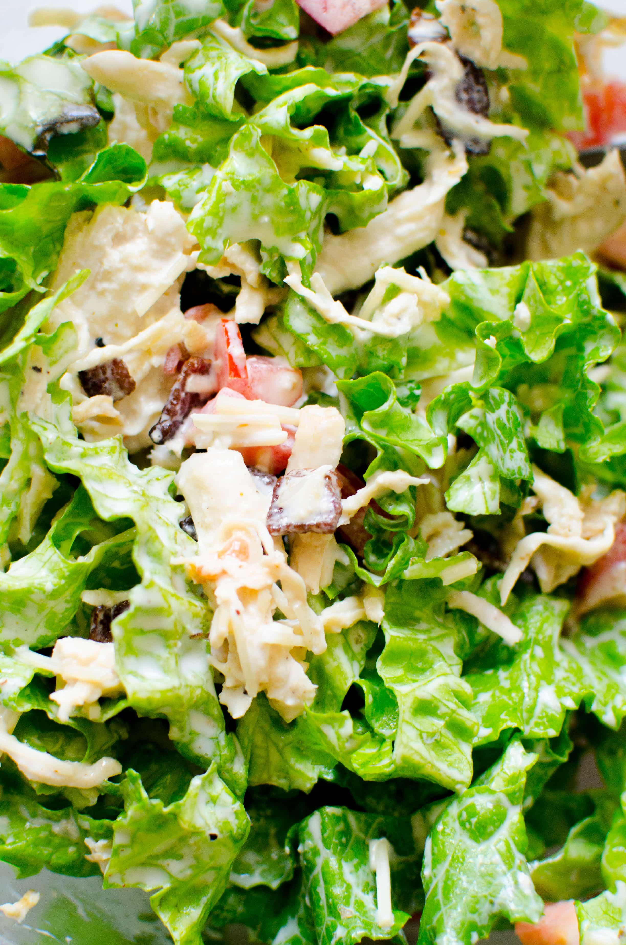Lettuce, chicken, bacon, tomatoes, cheese tossed in a homemade creamy mayo dressing.