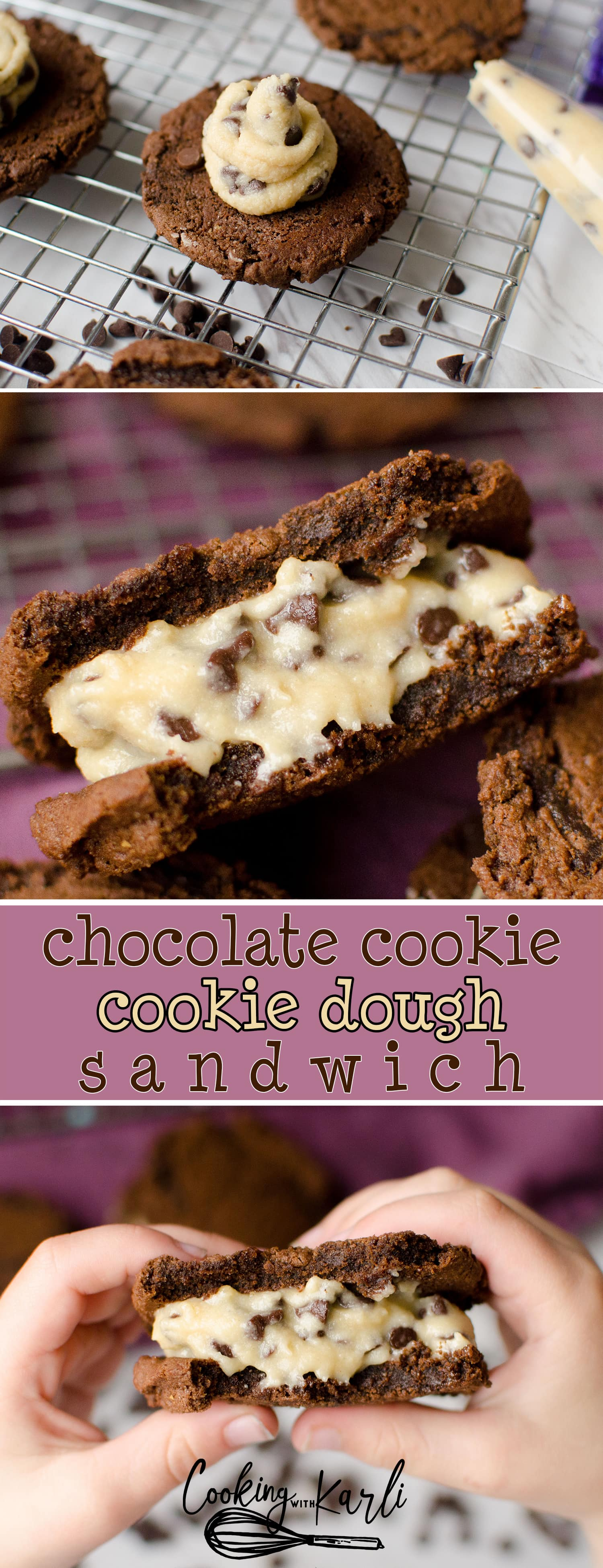 Chocolate Cookie Dough Sandwiches are a cookie dough whipped cream sandwiched in between two rich, chewy chocolate cookies.  This is a dessert lover's ultimate dream! -Cooking with Karli- #recipe #dessert #cookiedough #sandwichcookie