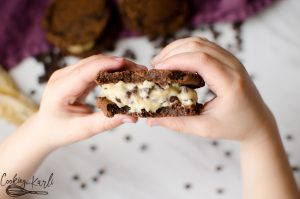Chocolate Cookie Dough Sandwiches are a cookie dough whipped cream sandwiched in between two rich, chewy chocolate cookies. This is a dessert lover's ultimate dream!