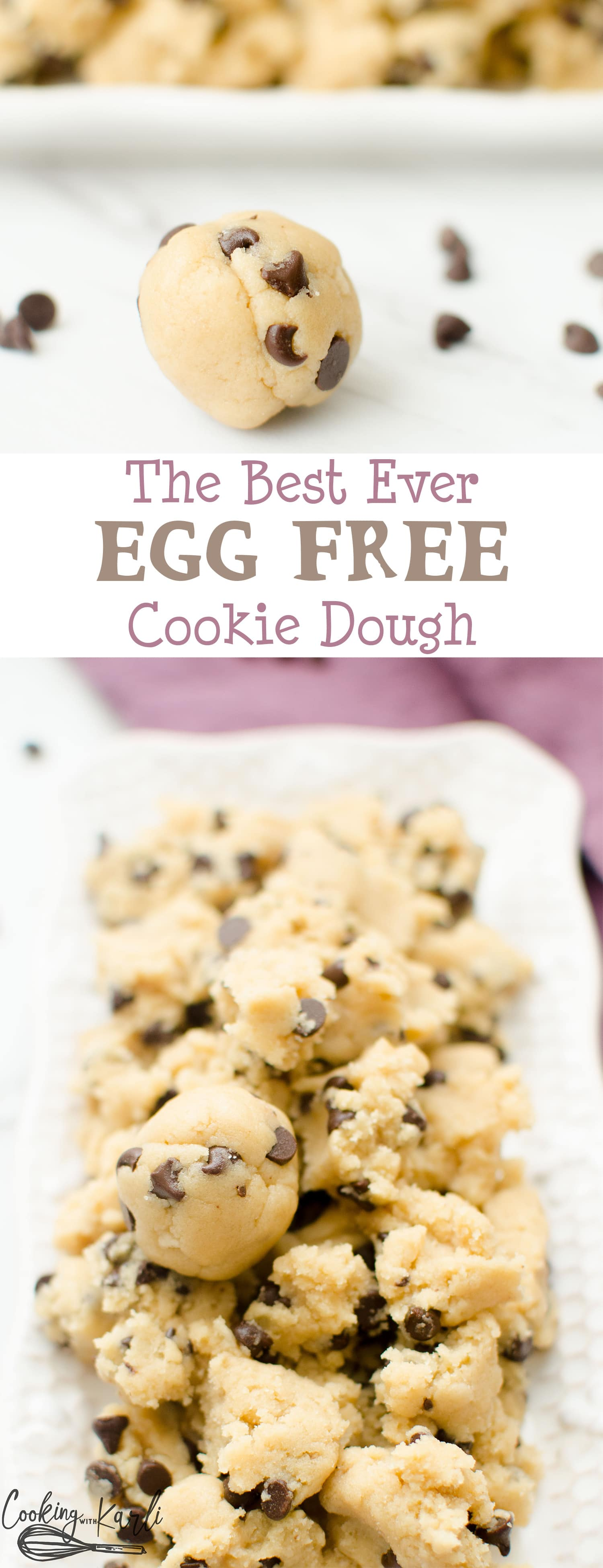Edible Egg Free Cookie Dough is made for EATING! The taste and texture is just like the real deal- no one will be able to tell the difference!-Cooking with Karli- #recipe #eggless #cookiedough #dessert #pregnancy