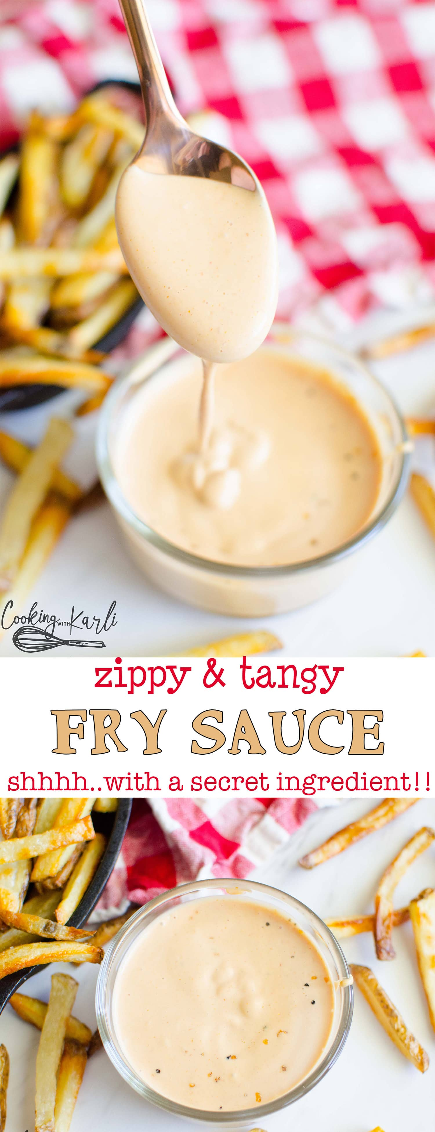 Fry Sauce is a french fry dipping sauce popular in Utah. Made with mayo, ketchup, mustard, vinegar and a secret ingredient, this recipe is definitely a keeper! Find out why my home state iscrazyabout fry sauce! |Cooking with Karli| #frenchfries #frysauce #recipe #mayochup #dipping #dippingsauce #condiments