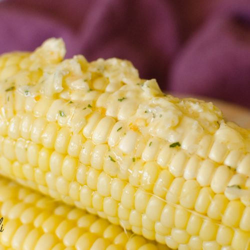 Corn on the Cob is great with the homemade garlic parmesan butter.