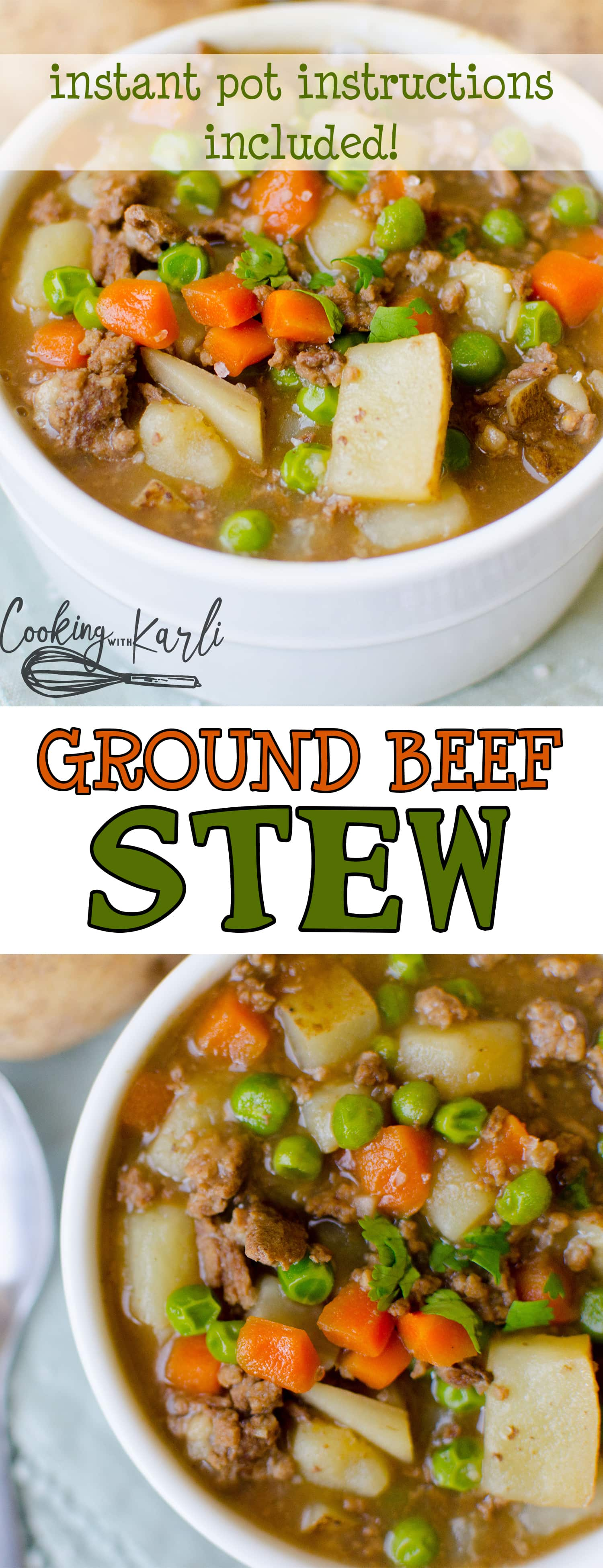 Ground Beef Stew is a thick and creamy gravy with ground beef, potatoes, peas and carrots. Making this in the Instant Pot makes this stew fast and easy! Pair this stew with a crusty dinner roll and you've got yourself one hearty meal! |Cooking with Karli| #instantpot #groundbeef #stew #recipe #dinner #maindish #hearty
