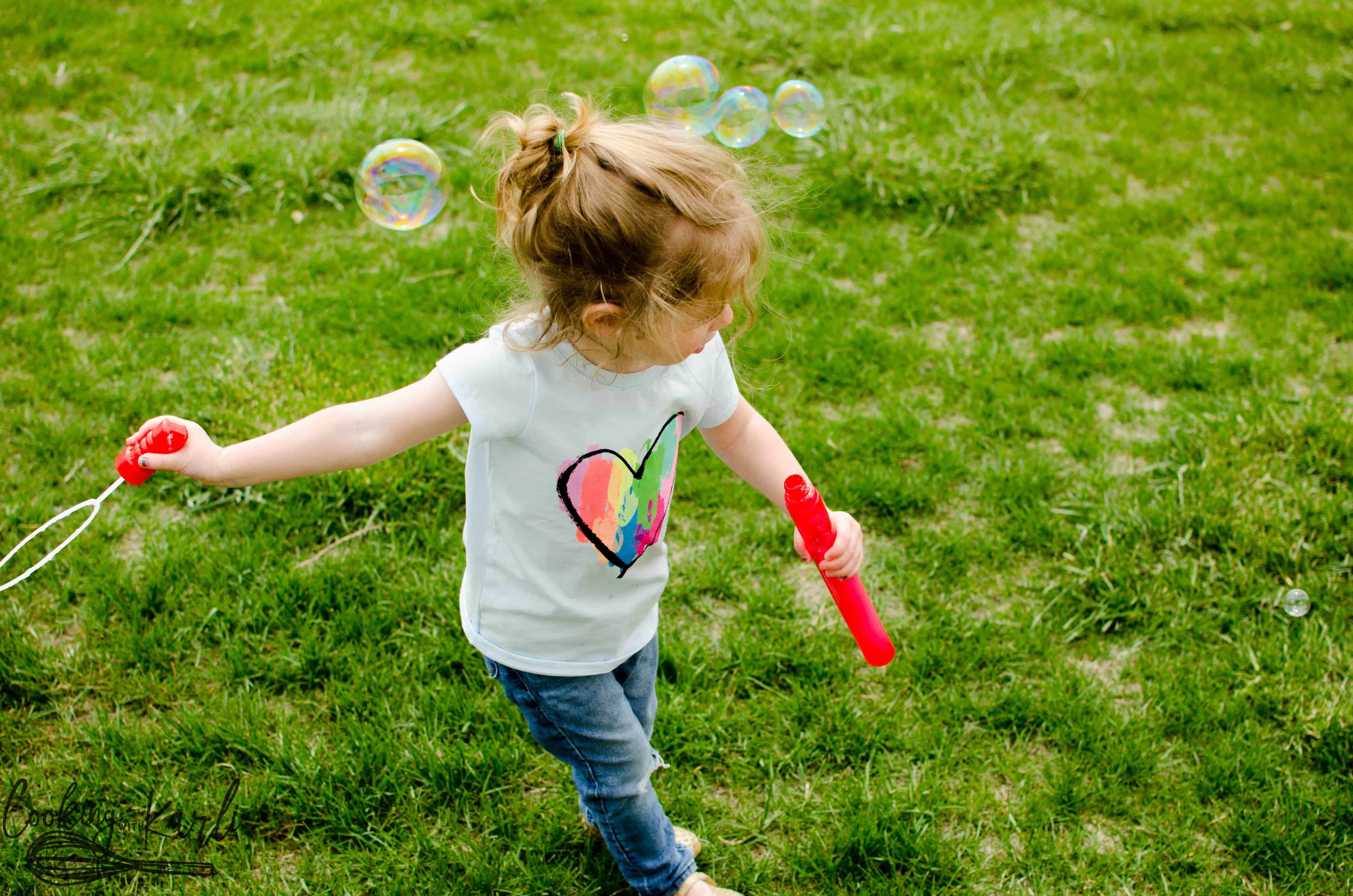 Kid's love playing with bubbles. It is a fun, cheap activity.