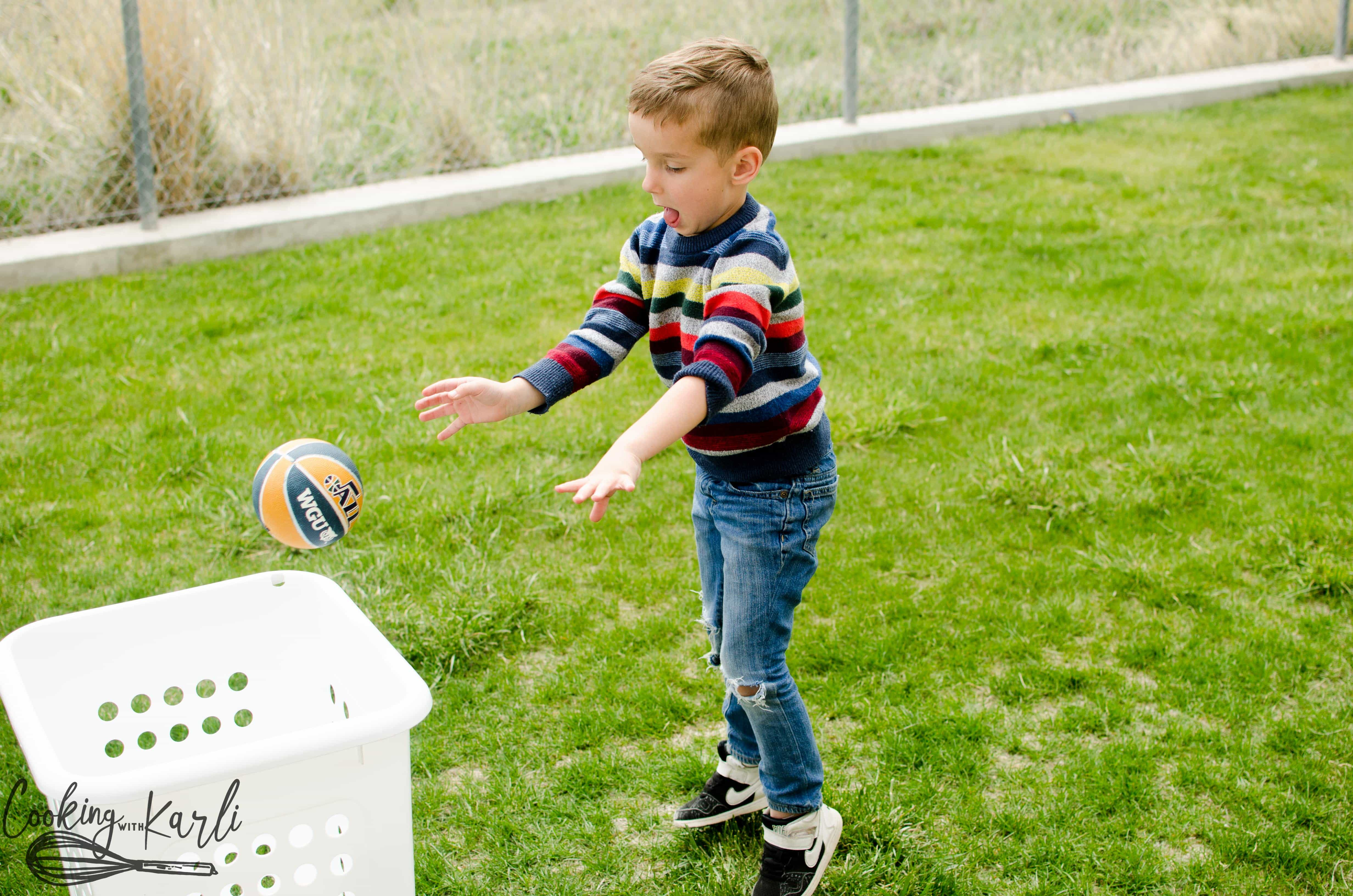 Fun kid's activities don't have to cost money! Grab a laundry basket and ball, play 'basket' ball!