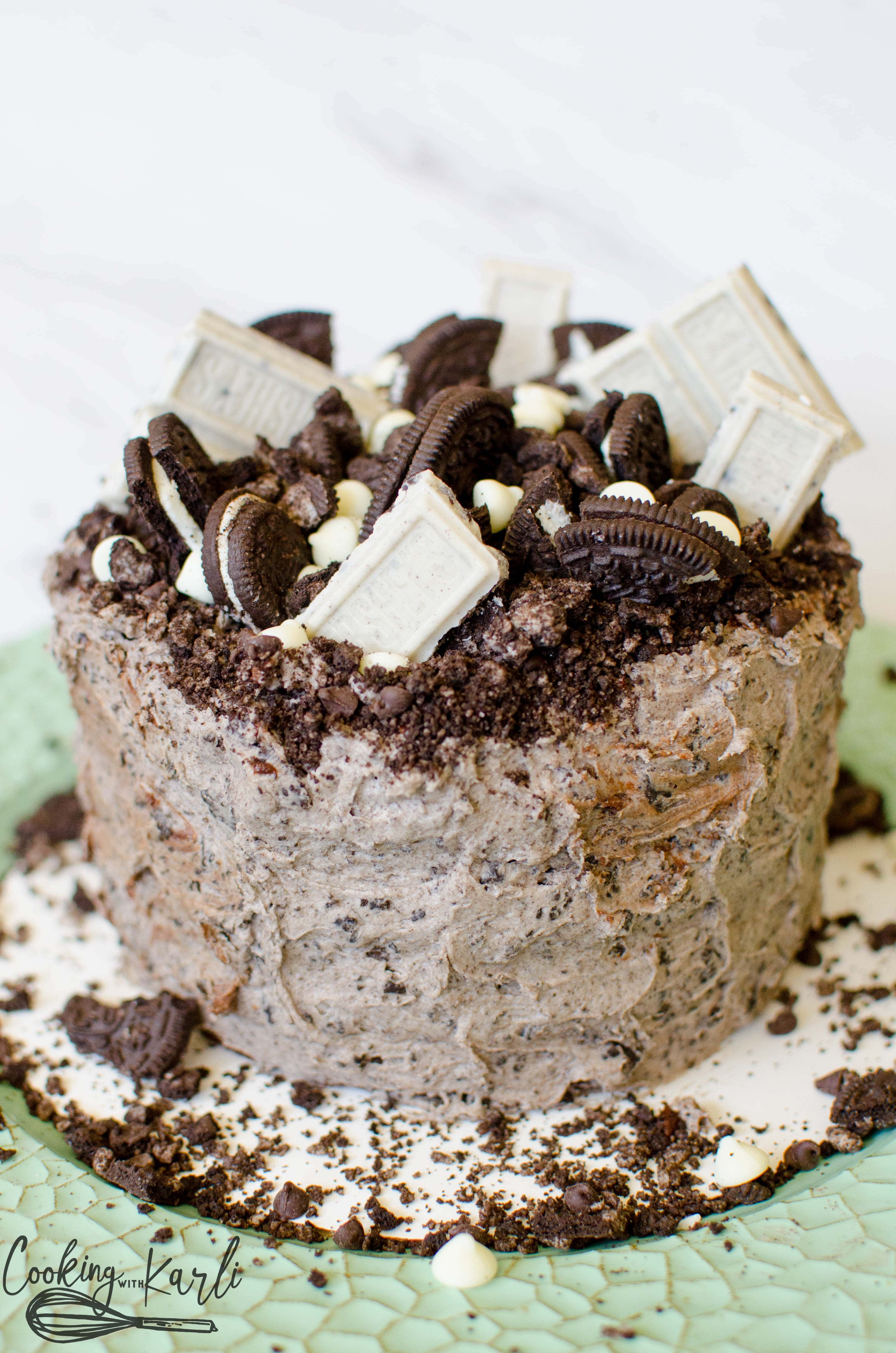 Cookies 'n Cream Cake is full of Oreo's, chocolate cake and chocolate chips.