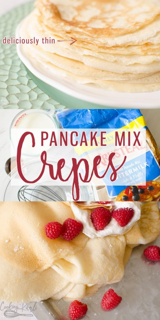 Easy Pancake Mix Crepes are thin and irresistible! Made from pancake mix, milk, an egg and vanilla; these are made in no time! No special appliances needed, just your stovetop! This will be your new FAVORITE Crepe Recipe! |Cooking with Karli| #breakfast #crepes #easy #fast #recipe #nofail #pancakemix #hack