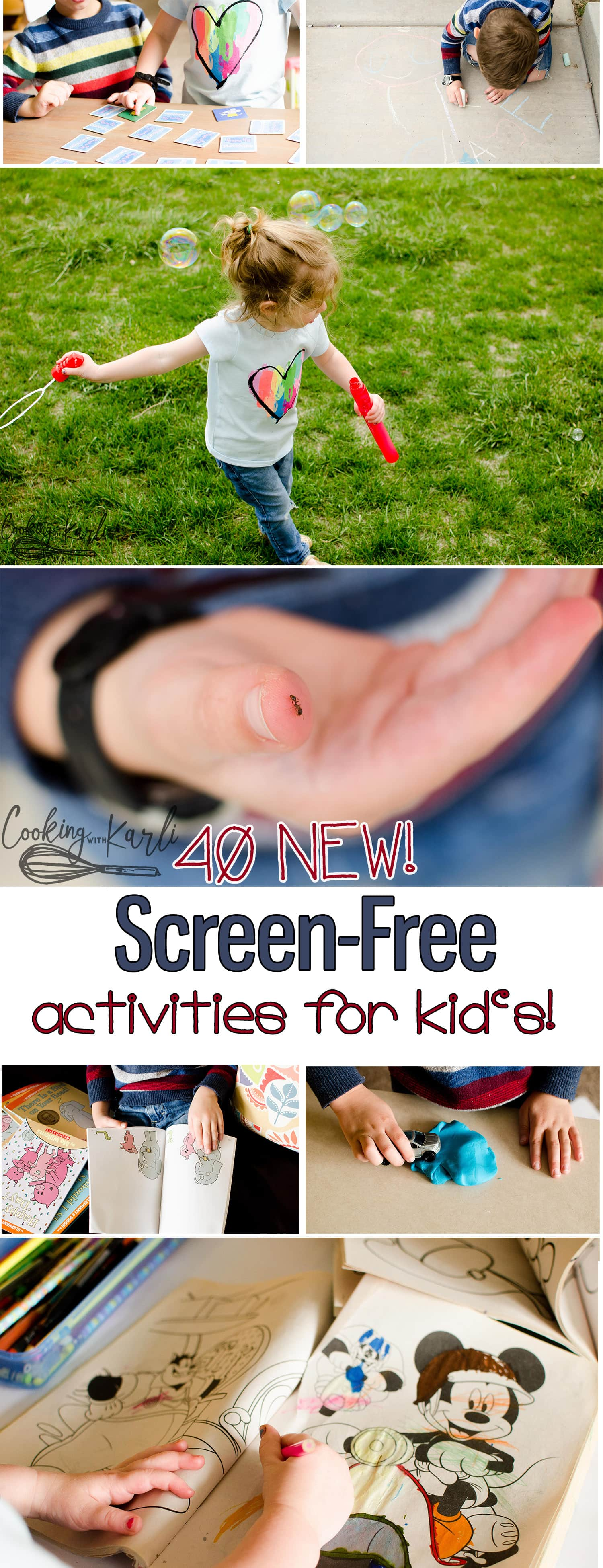 Screen-Free Activities for Kids are a must-have this Summer! Keep your kids occupied, happy, learning and active. These boredom-buster activities will entertain your kid's all summer long! |Cooking with Karli| #kids #activities #bordembuster #screen-free #noscreens #summer #toddler #3yearold #4yearold #5yearold