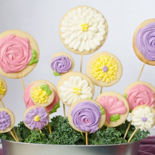 Tasty Mother's Day gift of sugar cookie flowers packaged in a planting pot.