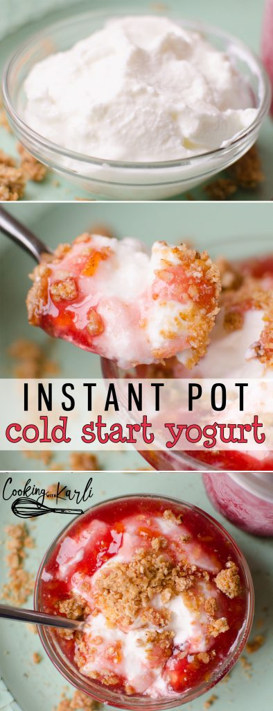 Instant Pot Yogurt could not be easier using the Cold Start Method! Ultra-Pasteurized milk, a starter and your Instant Pot is all you need to make delicious, creamy homemade yogurt.-Cooking with Karli- #instantpot #yogurt #coldstart #homemade #easy