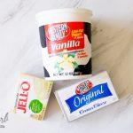 Vanilla yogurt, cream cheese and cheesecake pudding powder.