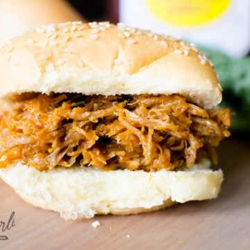 bbq pulled or shredded pork on a bun.