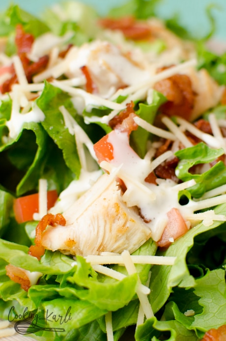 Creamy homemade dressing drizzled over BLT chicken salad