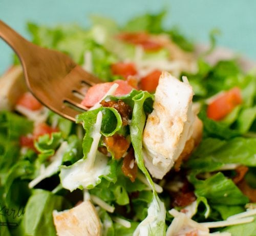 chicken, bacon, tomato and cheese in a green garden salad.