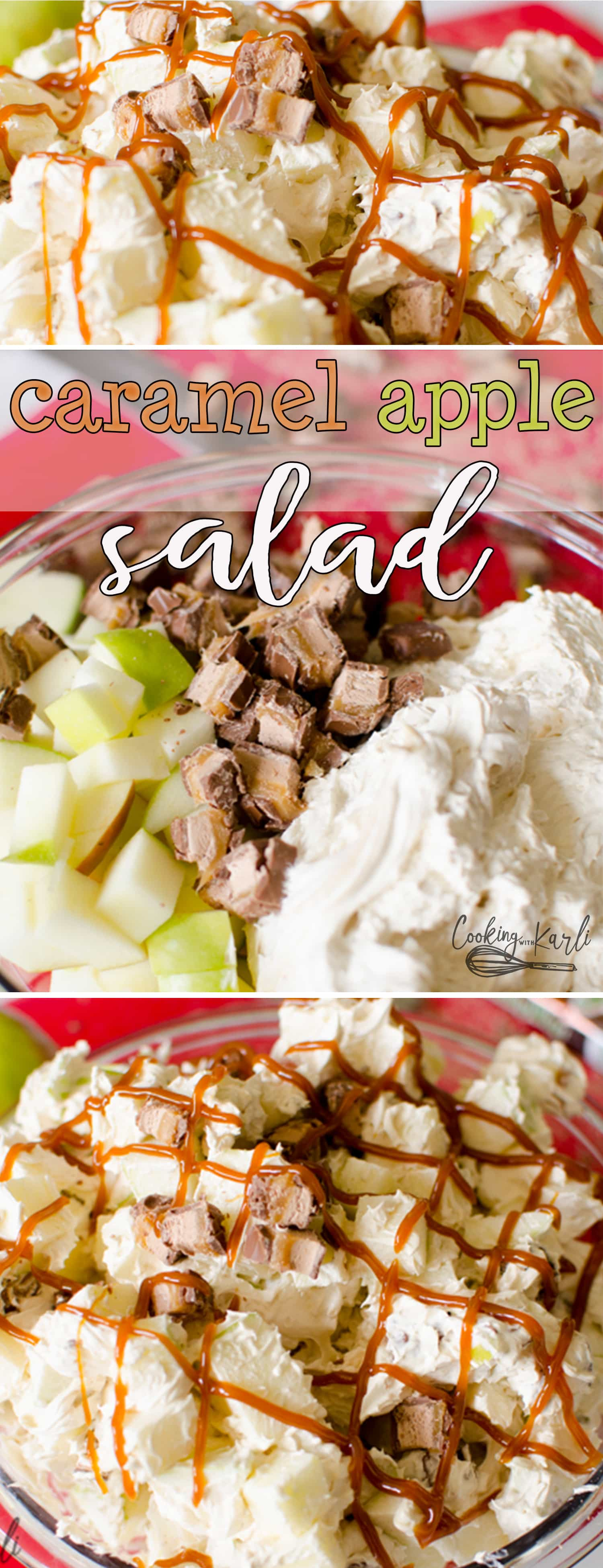 Caramel Apple Salad is a fluffy, creamy, subtly caramel flavored salad that is filled with tart Granny Smith Apples and Milky Way candy bars. The whole salad is drizzled with caramel sauce to finish it off. This classic salad is perfect for potlucks, holidays, family parties, or fall. |Cooking with Karli| #salad #sidedish #caramel #apple #candybar #recipe