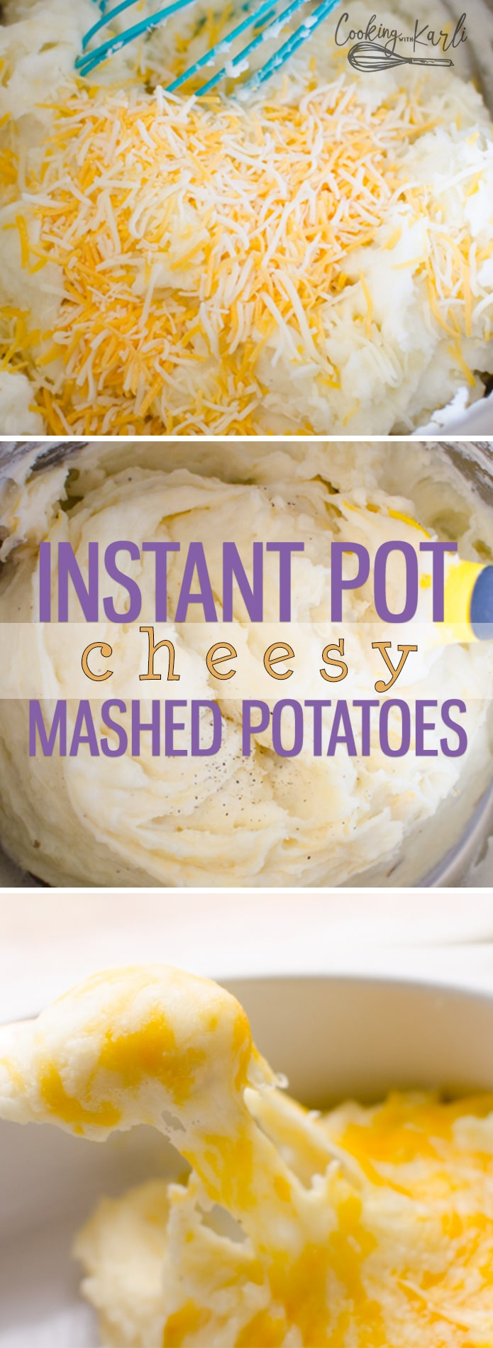 Instant Pot Cheesy Mashed Potatoes recipe is a very classic mashed potato dish. The potato really shines through and is the star in this recipe. The potatoes are pressure cooked for just 2 minutes, making these mashed potatoes the fastest side dish ever!  Cooking with Karli  #instantpot #mashed #potatoes #cheese #recipe #fast