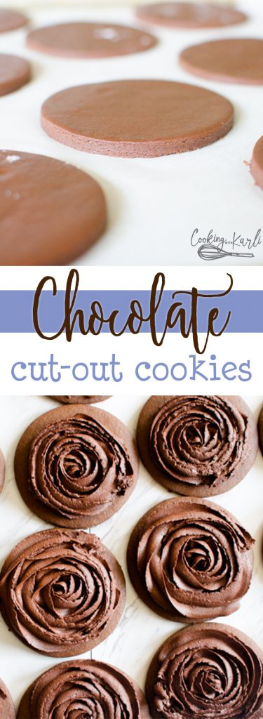 Chocolate Cut-Out Cookies are a rich and fudgy roll and cut cookie. The cookies keep shape, stay soft and disappear quickly! Perfect for showers, parties or celebrations of all kinds these Chocolate Cut-Out cookies are sure to be a hit! |Cooking with Karli| #chocolate #cutout #cookie #recipe #dessert #rollandcut #rich