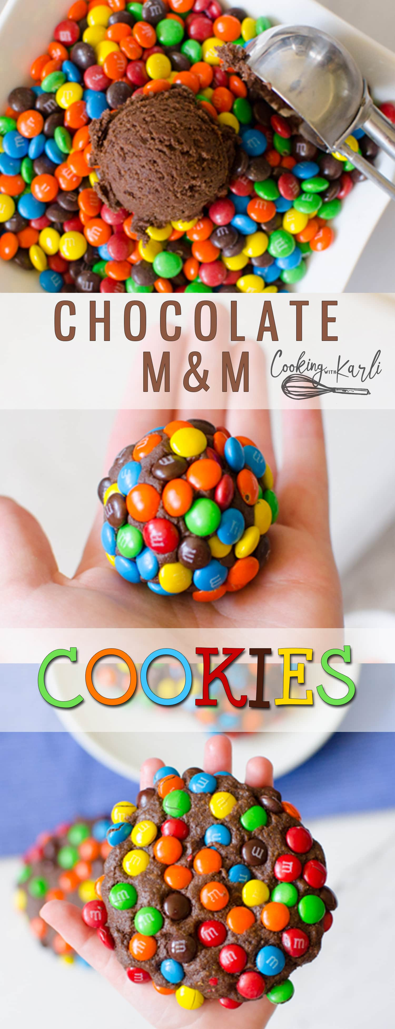 Chocolate M&M Cookies are soft, chewy and are quite literally crusted with mini M&Ms! The rich chocolate cookie dough is scooped and then rolled in mini M&Ms before baking in the oven. Baked to perfection, these final cookie is thick and fudgy. |Cooking with Karli| #cookies #chocolate #m&ms #loaded #recipe