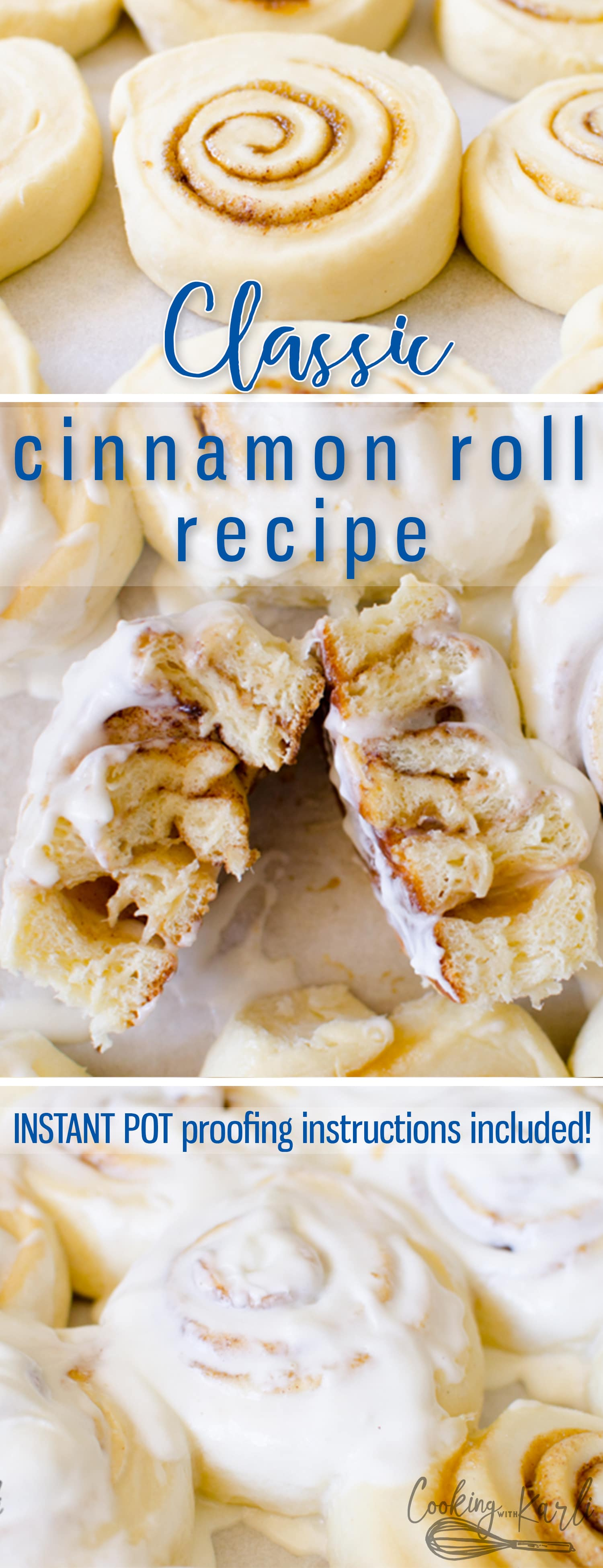 This Cinnamon Roll Recipe is a classic, fluffy and soft Cinnamon Roll drenched in Vanilla Buttercream Icing. This recipe can make a dozen giant cinnamon rolls or up to two dozen regular sized rolls. These mouth-watering sweet rolls are perfect for Mother's Day, Christmas morning or, ya know, any morning. |Cooking with Karli| #cinnamonroll #sweetroll #classic #instantpot #fastrise #quick #recipe