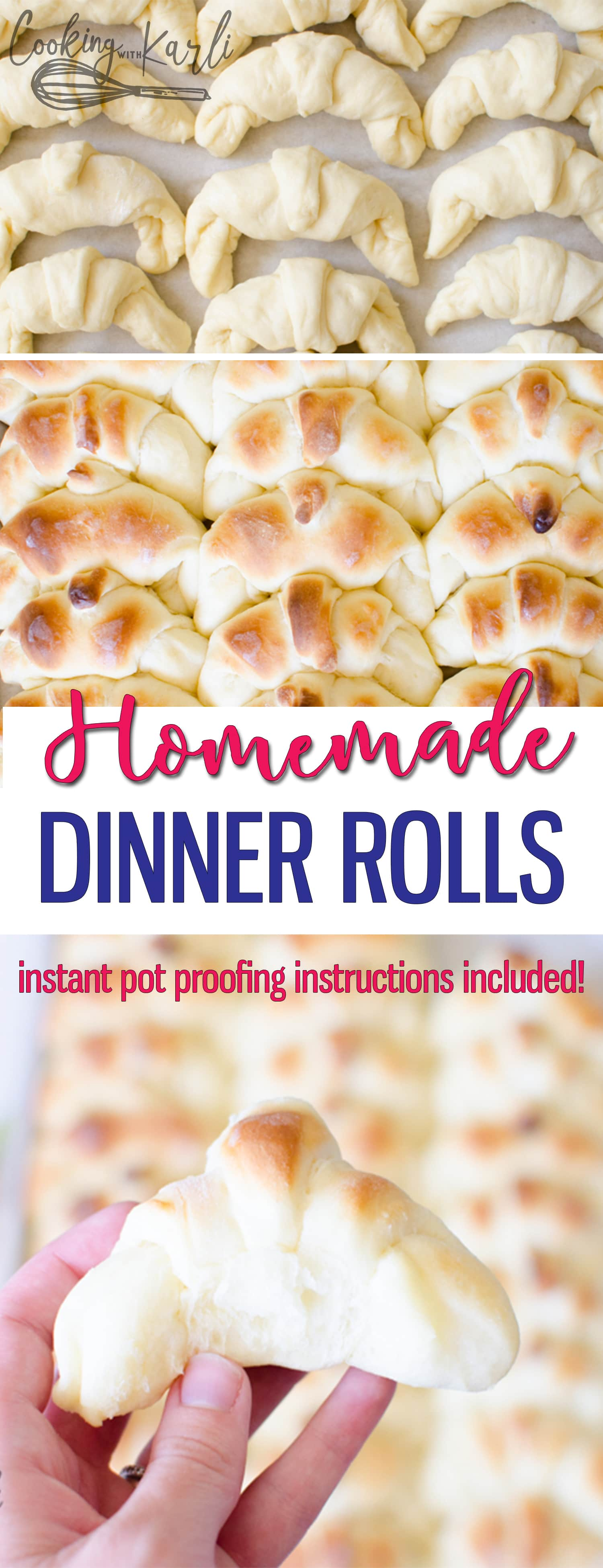 Homemade Dinner Rolls are soft, pillowy and yeasty! These Dinner Rolls are delicate enough to eat with jam and hearty enough to mop up gravy off of the dinner plate. Utilize the Instant Pot and make these rolls quickly and easily. This will be your families new favorite Dinner Roll recipe! |Cooking with Karli| #rolls #dinnerroll #dinner #easy #instantpot #proofing #sides #bread #crescent #homemade