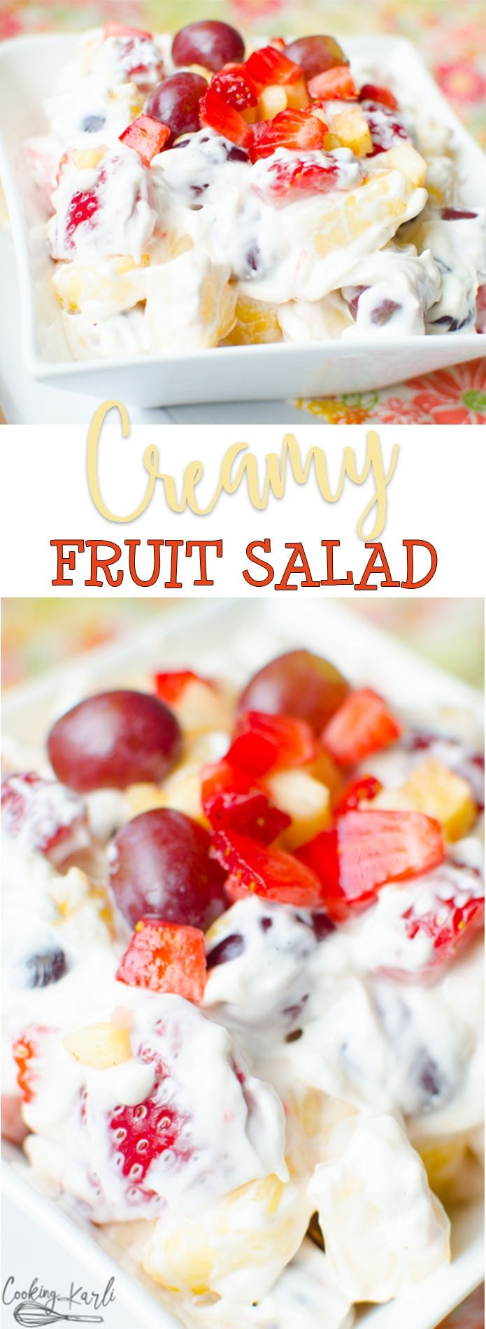 Creamy Fruit Salad is simple, fast and easy. All you need is a variety fruit, Cream Cheese and Marshmallow Cream. Strawberries, Pineapple, Grapes, Apples.. you name it! All of the delicious colorful fruit brought together with Cream Cheese and Marshmallow Cream. |Cooking with Karli| #fruitsalad #salad #fruit #strawberries #pineapple #grapes #side #potluck