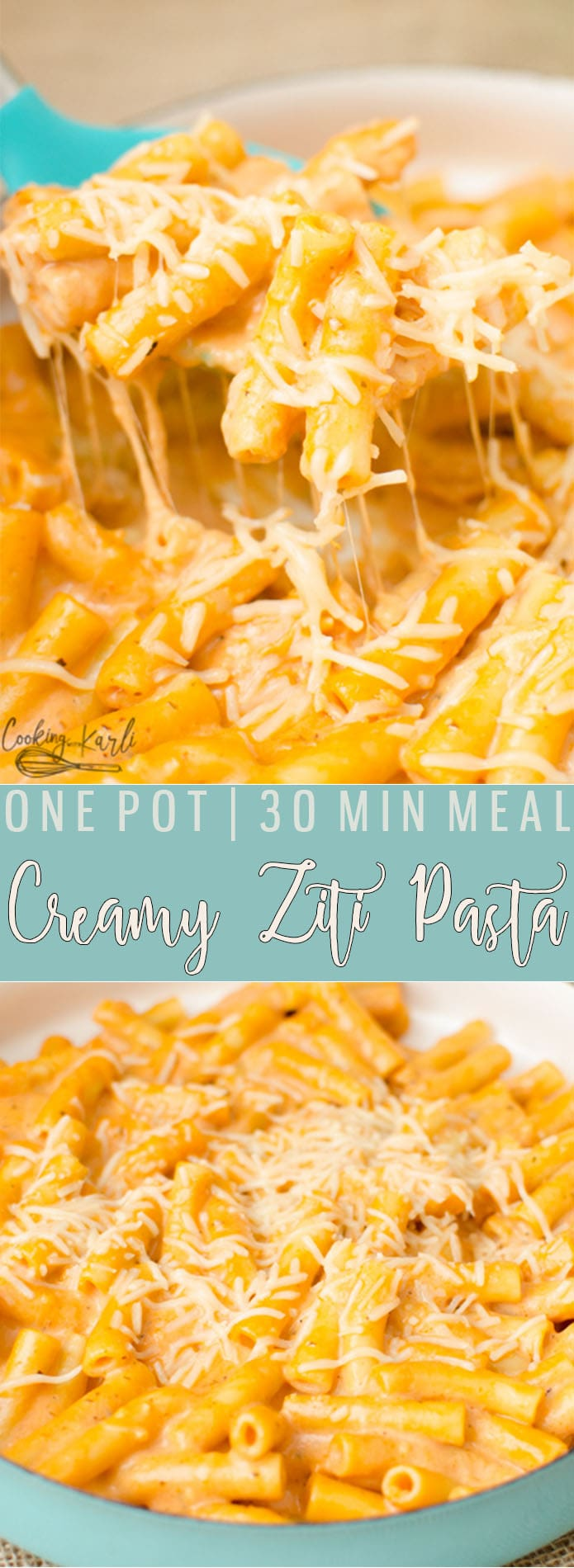 One Pot Creamy Ziti Pasta tastes even better than Ziti dishes you'd order from a restaurant! This One Pot meal is a fast, easy, dump and go dinner that won't leave you with a sink full of dishes! All it takes is a handful of ingredients to create this Pasta dish.  Cooking with Karli  #zitibake #copycat #olivegarden #creamyziti #onepot #30minmeal #fast #easy