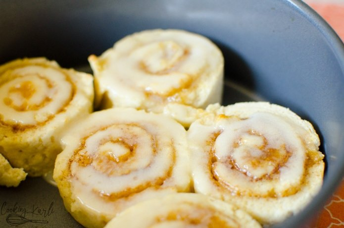 Cinnamon rolls are made in the Instant Pot using the pot in pot method.