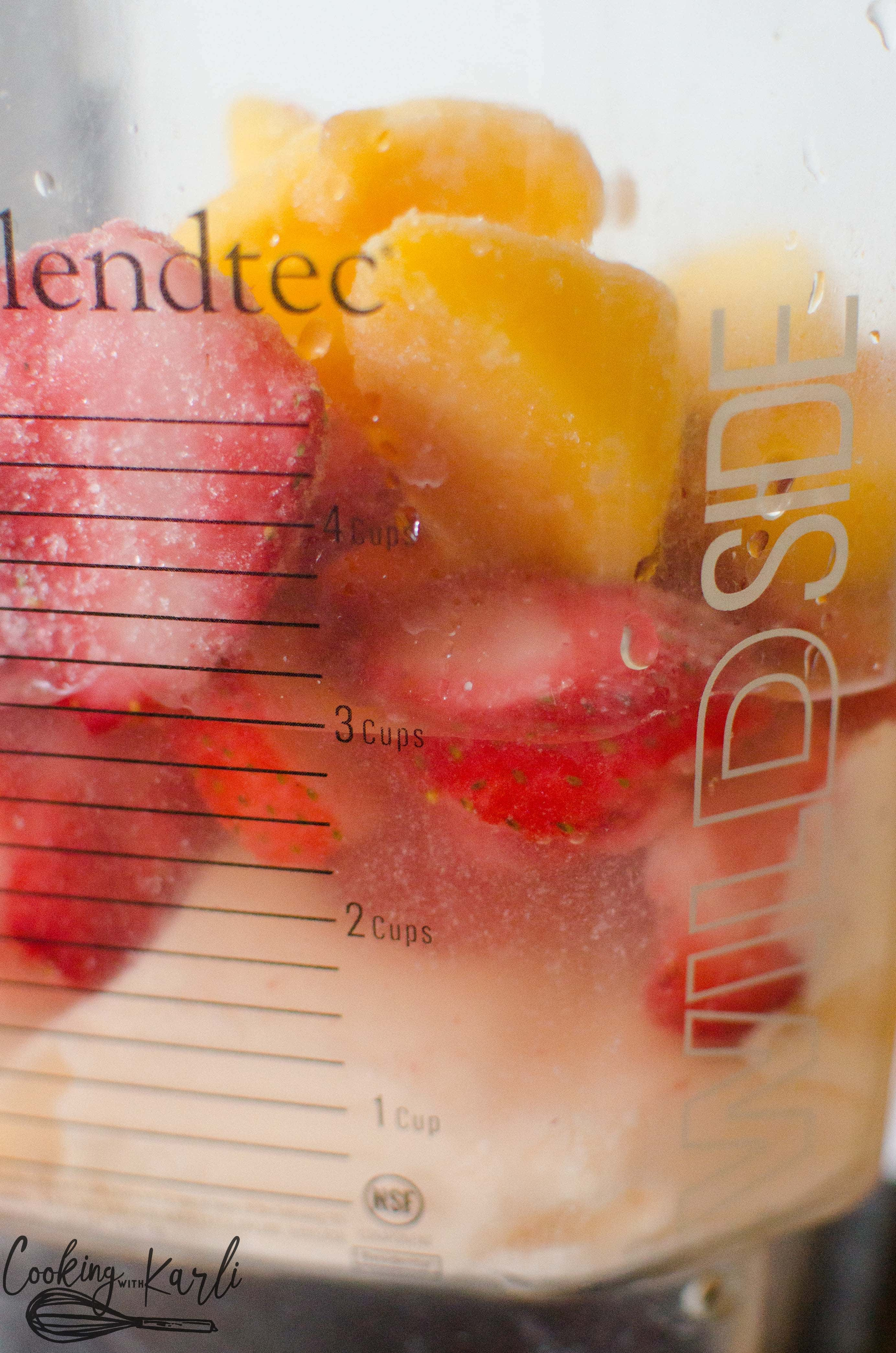 Frozen fruit, yogurt and juice are the ingredients for a fruit smoothie.