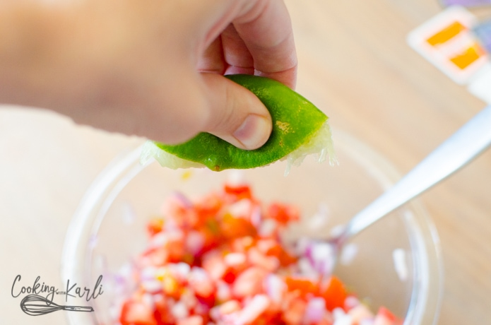 fresh lime squeezed overtop of the pico de Gallo.