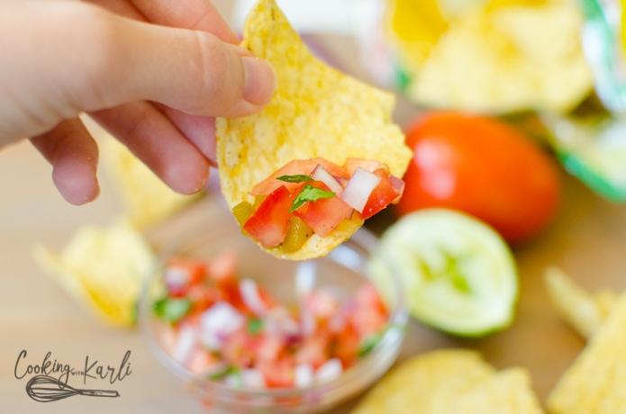 Pico De Gallo or Salsa Fresca is a fresh, raw salsa served with tortilla chips.