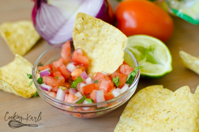Pico de Gallo or Salsa Fresca is a fresh salsa traditionally served with Mexican cuisine.