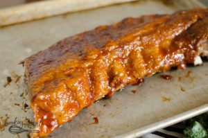 Rack of ribs pressure cooked in the Instant Pot.