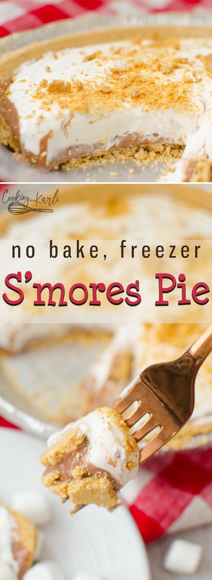 S'mores Pie is a no bake, frozen pie that can be thrown together in under 10 minutes! All of the classic s'mores flavors are not only present, but the ratio of graham cracker to marshmallow to chocolate is practicallyperfect. | Cooking with Karli | #smores #summer #dessert #nobake #freezer #pie #chocolate #marshmallow