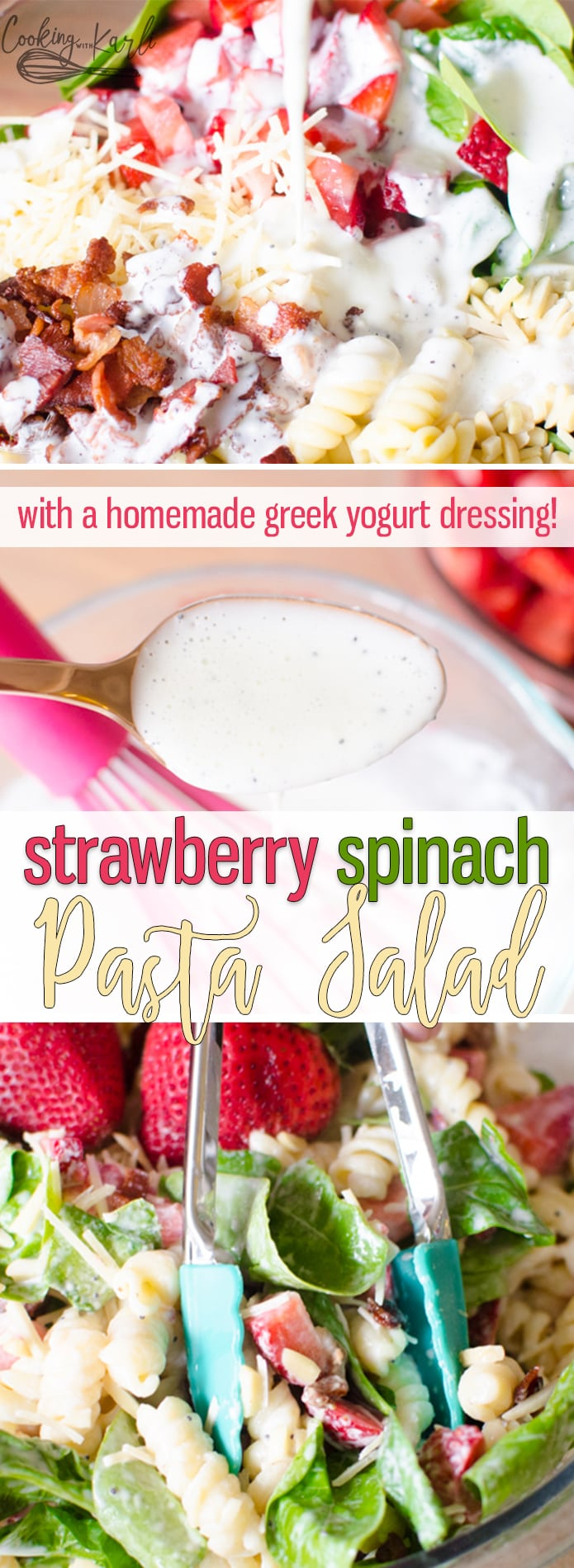 Strawberry Spinach Pasta Salad is a sweet and tangy pasta salad that is loaded with fresh strawberries, spinach, BACON, almonds and parmesan cheese. All of the ingredients are brought together with a homemade greek yogurt poppyseed dressing. |Cooking with Karli| #salad #spinach #pasta #fresh #greekyogurt #recipe #potluck
