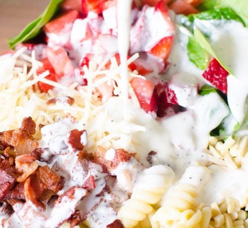 Homemade poppy seed dressing covers this pasta salad.