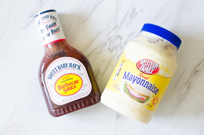 Jake's sauce is made out of two ingredients, BBQ sauce and mayo.