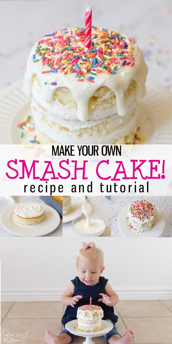 Smash Cake Recipe and Tutorial is a step by step guide to show you how to make a Smash Cake that is simple and easy! This Smash Cake is great for a first birthday and photos! Easily customizable, this Smash Cake is one cake fits all! |Customized by Karli| #smashcake #firstbirthday #diy #homemade #fromscratch #recipe #boy #girl #sprinkles #idea